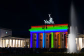 Brandenburg Gate in the original illumination. Festival of Light 2012 — Stock Photo