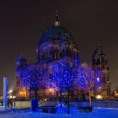 Catedral de berlim (berliner dom) e as árvores em primeiro plano nas luzes de natal. — Fotografia Stock