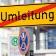 Road sign - detour. Germany. - Stock Photo