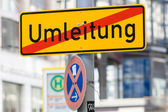 Road sign - detour. Germany. — Stock Photo