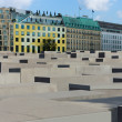 Stock Photo: Memorial to Murdered Jews of Europe in background five-star Hotel Adlon