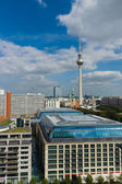 St. Mary's Church and the Berlin Television Tower and hotels Park Inn, in the foreground roof hotel Radisson Blu — Stock Photo