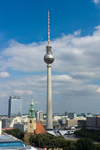 St. Mary's Church and the Berlin Television Tower and hotels Park Inn, bird's-eye view — Stock Photo