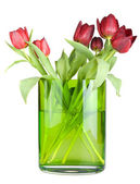 Bouquet of tulips in a vase. Isolated. — Stock Photo