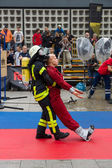 Sixth Firefighter Challeng. Match fire brigades — Stock Photo