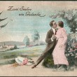 Old German postcard 1908. Shows a couple in love. — Stock Photo