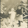 Old German postcard 1914. Showing the girl and snowman — Stock Photo