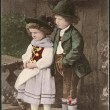 Old German postcard 1906. Shows a girl and a boy in traditional Bavarian dress — Stock Photo