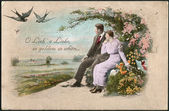 Old German postcard 1908. Shows a couple in love. — Stok fotoğraf
