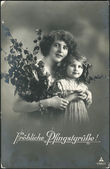 Old German postcard 1916. Shows a mother and girl. The inscription in German: Joyful Pentecost — Foto Stock