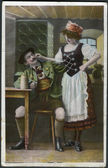 Old German postcard 1912. Shows a Bavarian restaurant, a visitor and a waitress. — Stock Photo