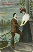 Old German postcard 1912. Shows a couple in love. The inscription in German: You're mine, and what could be more important in the world! — Stock Photo