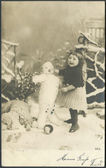 Old German postcard 1914. Showing the girl and snowman — Photo
