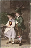 Old German postcard 1906. Shows a girl and a boy in traditional Bavarian dress — Foto de Stock