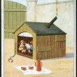 Stock Photo: Old Italipostcard, 1930. Showing children living in doghouse. inscription in Italian: Housing Crisis.