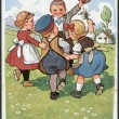 Old German postcard of 1924. Shows children playing. Inscription in German: Our dad is calling us back. — Stock Photo