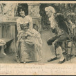 "Old German postcard of 1912. Engraving ""The old philanderer"" by Theodor Stroefer - Stock Photo"