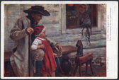 """Old postcard. Austria-Hungary (Bohemia) 1915. Shows a reproduction of """"At the grand-father"""" by J.Spillar — Stock Photo"""