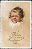Old German postcard 1931. Shows a joyful happy baby. Inscription in German: Hearty congratulations to the birthday — 图库照片