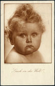 Old Austrian postcard, 1932. Shows a baby. Inscription in German: A look into the world — Stock Photo