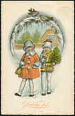 Old Danish Christmas postcard, 1930. The inscription in Danish: Merry Christmas! — Stock Photo