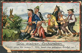 "Old German postcard of 1923. An illustration of the fairy tale ""Die Sieben Schwaben"" — Stock Photo"