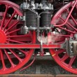Steam locomotive wheels close up. — Stock Video