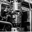Air pump steam locomotive (Black & White) — Stock Photo