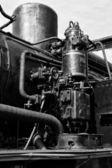 Air pump steam locomotive (Black & White) — Stock Photo