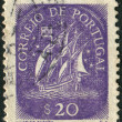 Postage stamp printing of Portugal, shows Ancient Sailing Vessel — Stock Photo