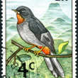 Postage stamp Saint Vincent and Grenadines, shows bird Rufous-throated Solitaire (Myadestes genibarbis) — Stock Photo #25120217