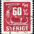 A postage stamp printed in Sweden, shows Rock Carvings — Stock Photo #25120279