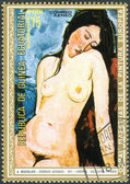 A postage stamp printed in Equatorial Guinea, Seated Female Nude by Amedeo Modigliani — Stock Photo