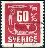 A postage stamp printed in Sweden, shows Rock Carvings — Stock Photo