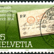 SWITZERLAND - CIRCA 1984: A stamp printed in Switzerland, dedicated to NABA-ZURI'84 National Stamp Show, Zurich, June 22-July 1, circa 1984 — Stock Photo #26040857