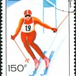 CHAD - CIRC1979: stamp printed in Chad, devoted Winter Olympic Games in Lake Placid, shows Giant slalom, circ1979 — Stock Photo #26041819