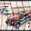 SINGAPORE - CIRCA 1997: A stamp printed in Singapore, shows fire engine, circa 1997 — Stock Photo #26041883