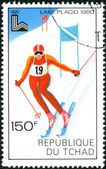 CHAD - CIRCA 1979: A stamp printed in Chad, devoted Winter Olympic Games in Lake Placid, shows Giant slalom, circa 1979 — Stock Photo