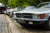 BERLIN - MAY 11: Mercedes-Benz R107 and C107 (in the foreground) — Стоковое фото