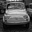 Постер, плакат: BERLIN MAY 11: Small Car Fiat 500 F or Berlina black and whit