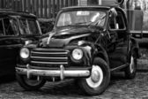 BERLIN - MAY 11: The subcompact Fiat 500 Topolino (black and whi — Stock Photo