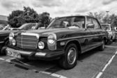 BERLIN - MAY 11: Car Mercedes-Benz W114 (black and white), 26th — Stock Photo