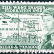 A postage stamp printed in Trinidad and Tobago, is dedicated to the formation of the West Indian Federation, shows Queen Elizabeth II on the background of the Caribbean island, circa 1958 — Stock Photo #26343005