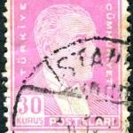 TURKEY - CIRCA 1951: A postage stamp printed in Turkey shows the 1st President of Turkey Mustafa Kemal Ataturk, circa 1951 — Stock Photo #26343025
