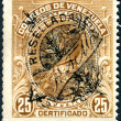 VENEZUELA - CIRCA 1882: A stamp printed in Venezuela, shows Simon Bolivar (overprint RESELLADA and RTM, 1893), circa 1882 — Stock Photo