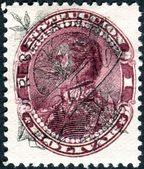 VENEZUELA - CIRCA 1887: A stamp printed in Venezuela, shows Simon Bolivar (overprint RESELLADA and RTM, 1893), circa 1887 — Foto Stock