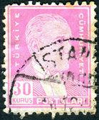 TURKEY - CIRCA 1951: A postage stamp printed in Turkey shows the 1st President of Turkey Mustafa Kemal Ataturk, circa 1951 — Stock Photo