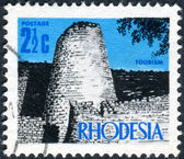 RHODESIA - CIRCA 1970: A postage stamp printed in Rhodesia, shows the ruins of Great Zimbabwe, circa 1970 — Stock Photo