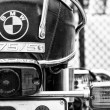 Stock Photo: Detail of the motorcycle BMW R75-5 (focus on foreground), black and white