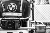 Detail of the motorcycle BMW R75-5 (focus on foreground), black and white — Stock Photo